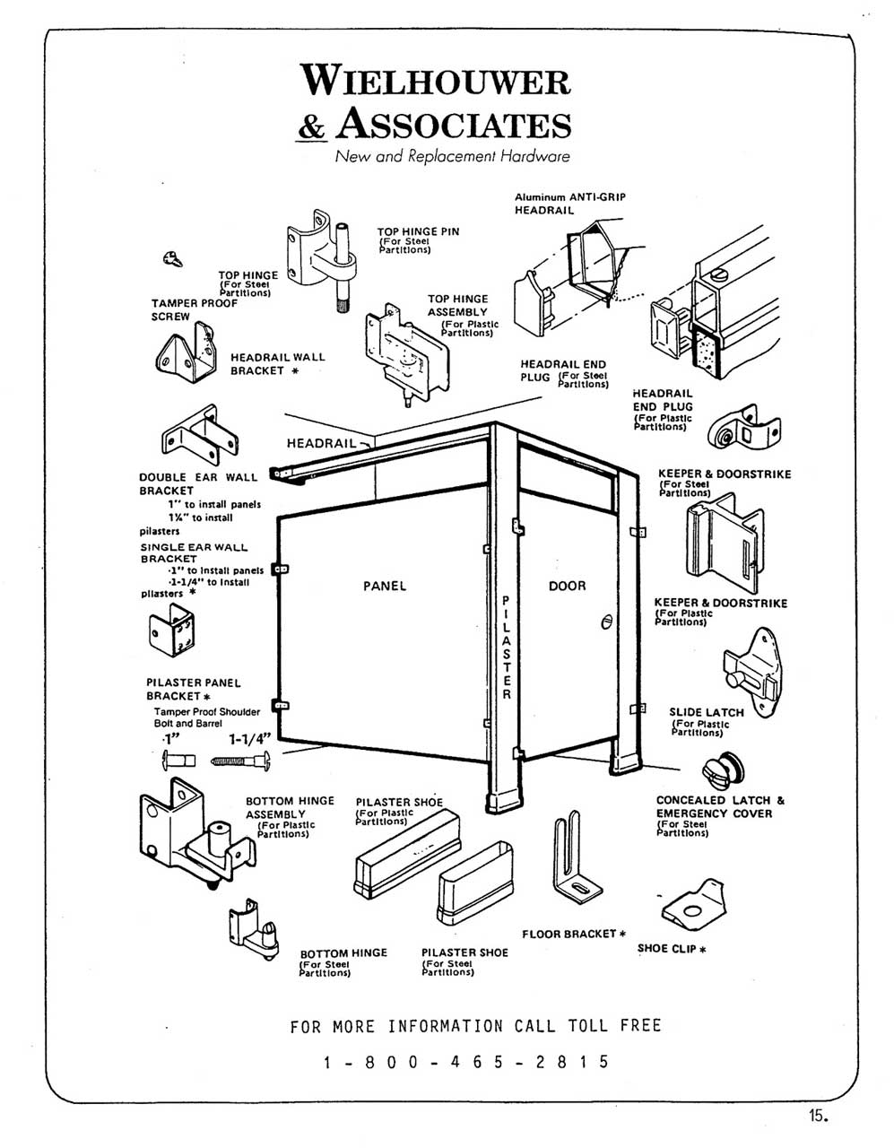 Toilet partitions parts identification diagram toilet for Bathroom stall partitions parts