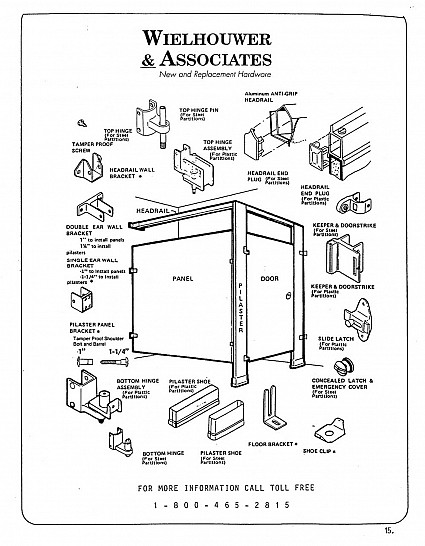 Toilet partition diagram showing common components and replacement parts.