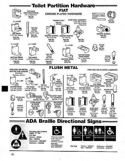 Toilet partition hardware - Fiat and flush metal; ADA Braille directional signs