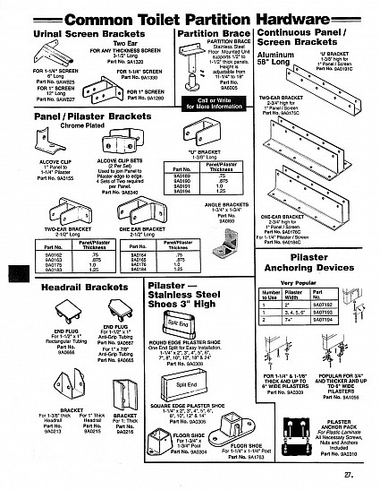 Toilet partition hardware - common replacement hardware