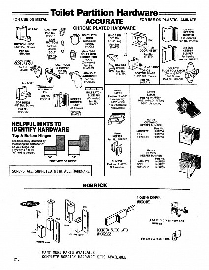 Toilet partition replacement  hardware for Accurate and Bobrick