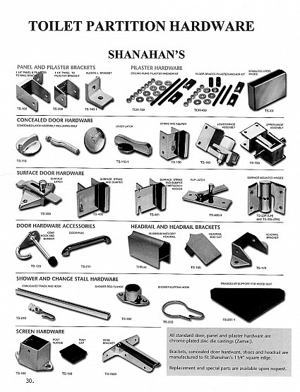 Toilet partition hardware for Shanahan in chrome-plated zinc die castings (Zamac)