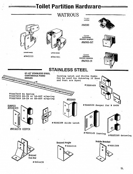 Watrous and stainless steel toilet partition hardware